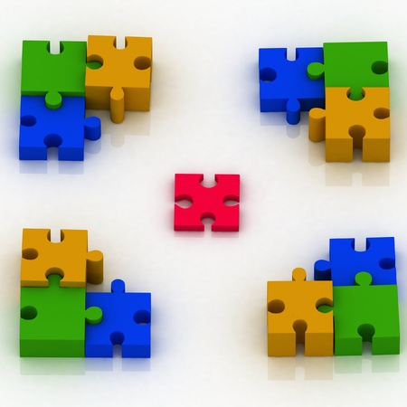 3d constituent of puzzle. conception of choice photo