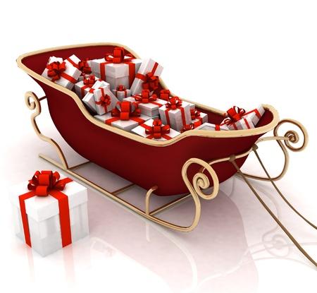 sledge: Trineo de Santa de la Navidad con los regalos en un fondo blanco