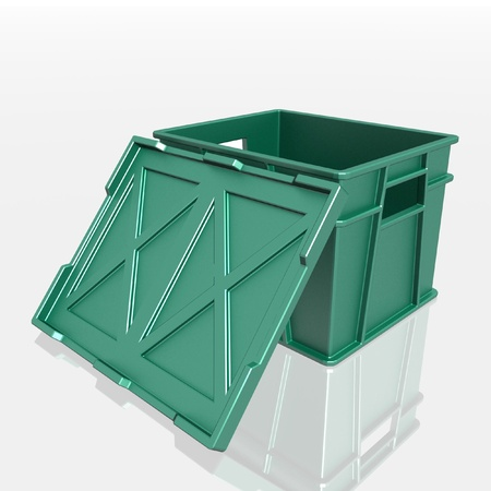 open plastic container with a lid photo
