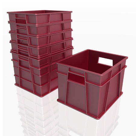 fruit and veg: plastic containers on a white background