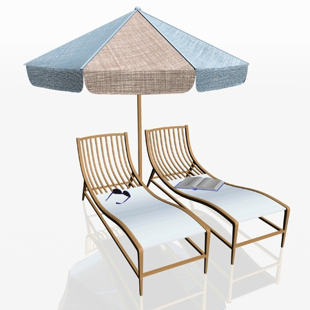 reclining: two beach chairs and umbrella