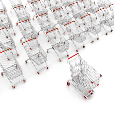 many shopping carts. 3d render. photo