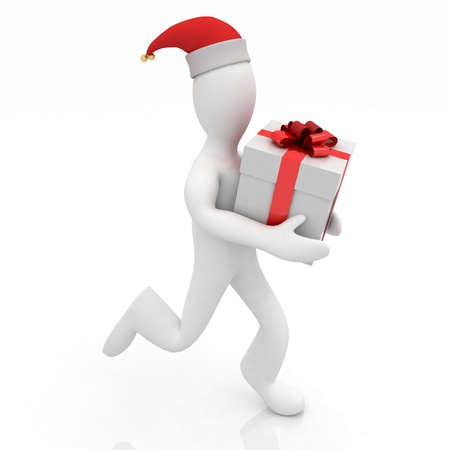 3D man with holding a gift box isolated over white Stock Photo - 11845792