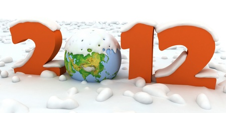 New Year 2012. Number of powdered snow. Stock Photo - 11846318