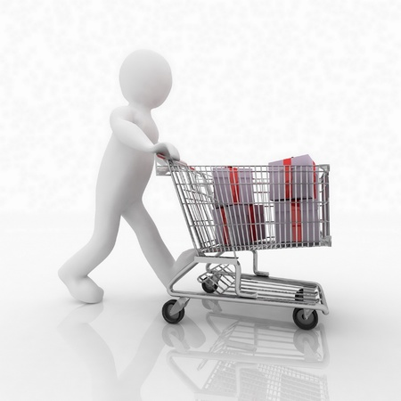 3d man rolls the shopping cart with gifts photo