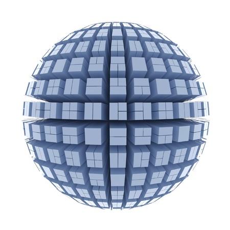 large build: Globe di cubi