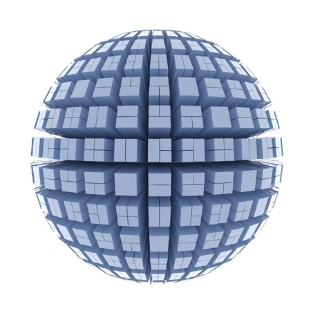blue sphere: Globe of cubes