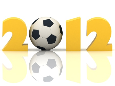 2012 year and soccer-ball on a white background Stock Photo - 11845720