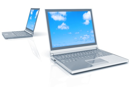 two laptops isolated over white background photo