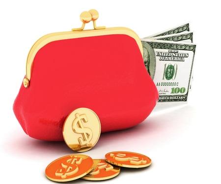 3d ilustración de un bolso y dinero