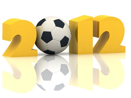 2012 year and soccer-ball on a white background photo