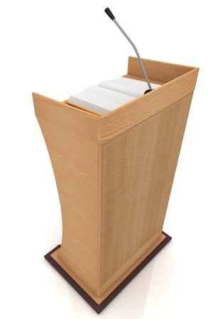 debate: Podium for sermons on a white background Stock Photo