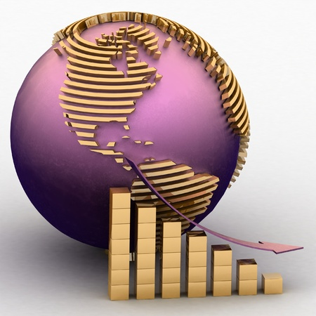 lowering: lowering chart with a pointer on a background a globe