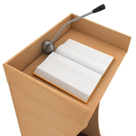 predicador: Podio para sermones sobre un fondo blanco