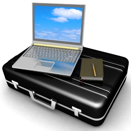 black briefcase: ordenador port�til de color plateado y el bloc de notas con el l�piz en estuche negro sobre fondo blanco