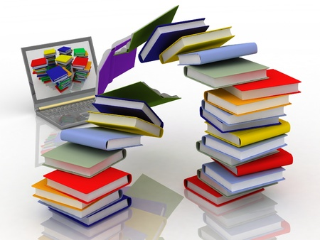 books fly into your laptop Stock Photo - 11846275