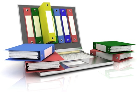 abstract image of computer and folders for documents Stock Photo - 11845996