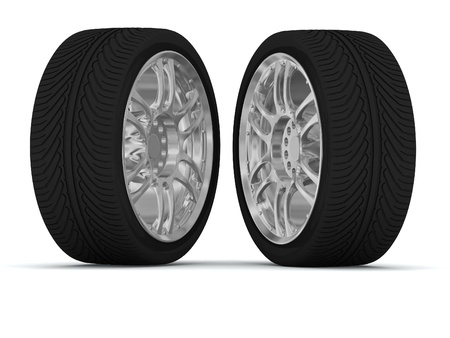 Wheels isolated on white. 3d illustration illustration
