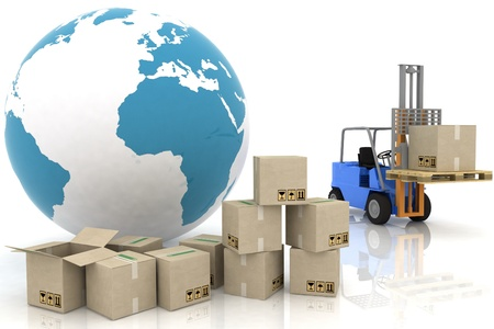 picking: Forklift with boxes is isolated on a white background Stock Photo