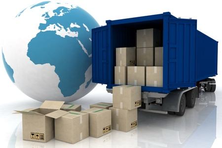 earth moving: container of truck with boxes on white