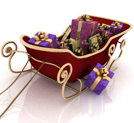 snow sled: Christmas Santa sledge with gifts on a white background