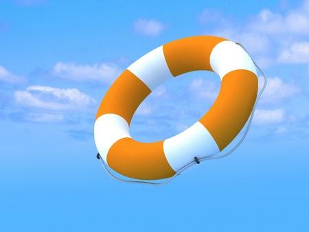 lifebuoy: Flying lifebuoy for help Stock Photo
