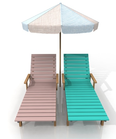 two beach chairs and umbrella photo