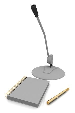 Notebook, microphone and pen isolated on a white background photo