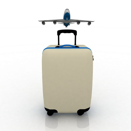 plane tickets: airliner and suitcase on white background Stock Photo