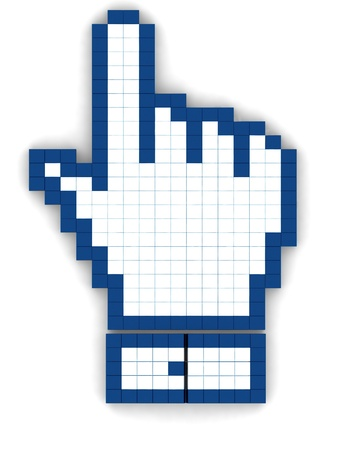 cufflink: 3d illustration hand mouse symbol