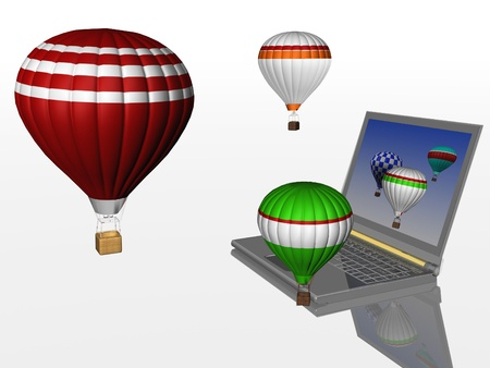Hot air balloons take off from the screen of laptop. Unity 3d charts and the real world photo