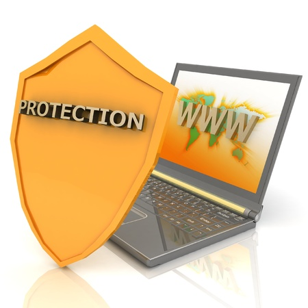 antivirus: Notebook with shield - Internet security concept