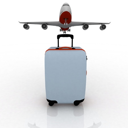 airliner and suitcase on white background Stock Photo