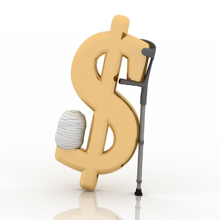 sign of dollar, supported by a crutch, over white background photo