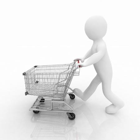 3d man rolls the shopping cart photo