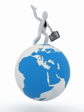 3D man with a suitcase on top of the globe photo