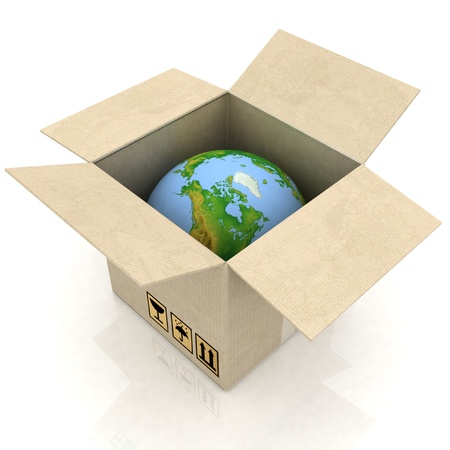 Cardboard box with globe photo