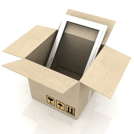 cardboard box with plastic windows on a white background photo