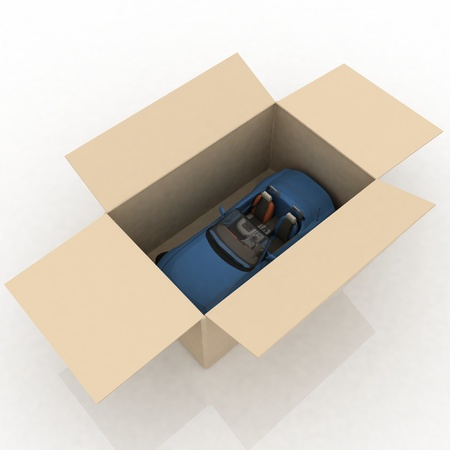 open box with inside a new car  photo