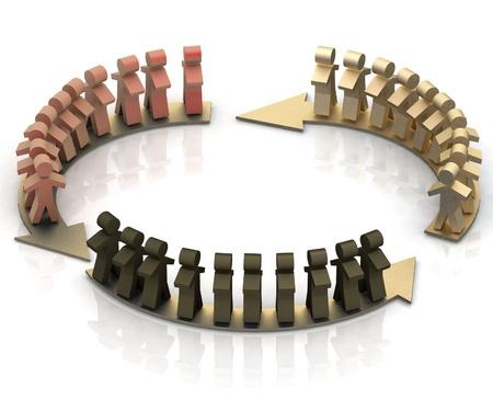 teamwork circle, business flow. 3d illustration Stock Illustration - 11895550