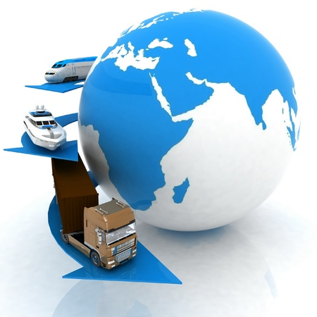 liner transportation: types of transport on a background map of the world