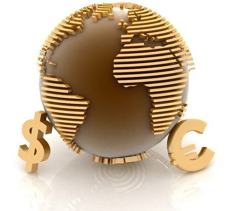3d globe with gold currency symbols on white background photo