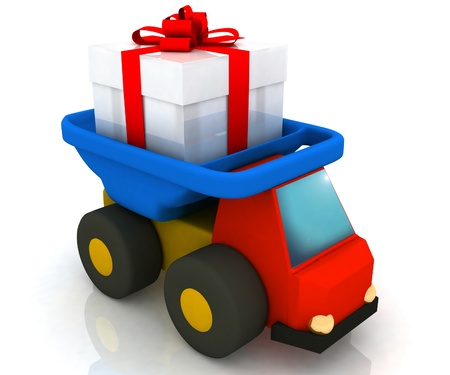 toy truck drives a gift photo