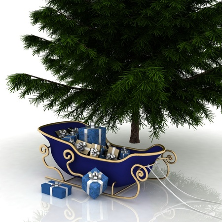 Christmas Tree and Christmas Santa sledge with gifts on a white background Stock Photo - 11894908