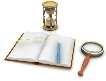 scientific literature: open book with a hourglass and glasses on white background Stock Photo