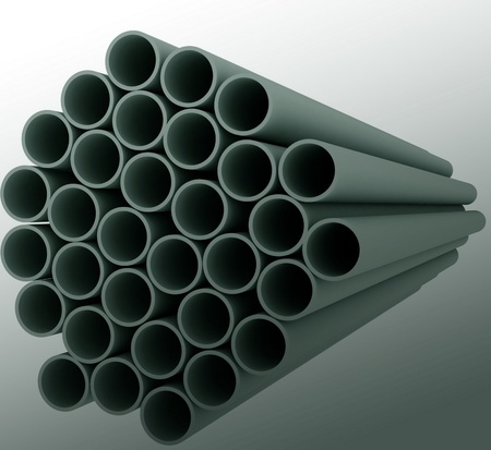 Metal pipes on white background. Isolated 3D image photo