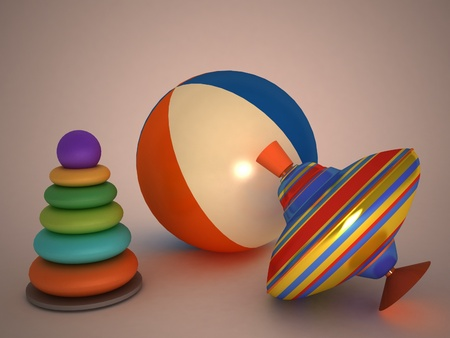 bal: 3d childs toys pyramid, top, bal Stock Photo