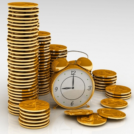 Time is money concept with clock and coins photo