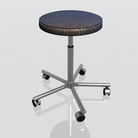 3d render of rotating chair on casters without a back photo