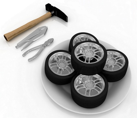 service and repair wheels Stock Photo - 11946684